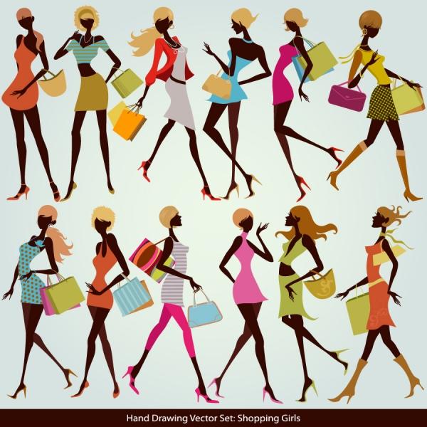買い物を楽しむ女性のシルエット Shopping girl silhouette