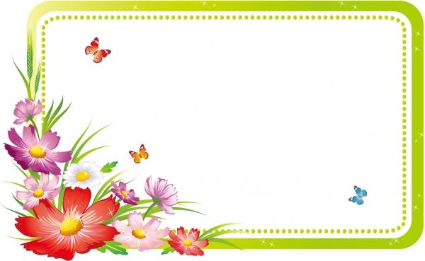 美しい花と蝶のフレーム beautiful flowers frame