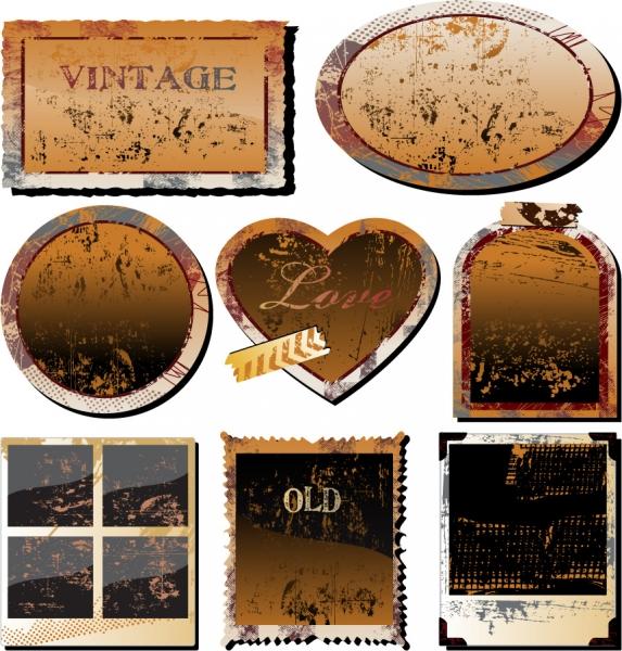 古いフォトフレームOld photographs paper clips3