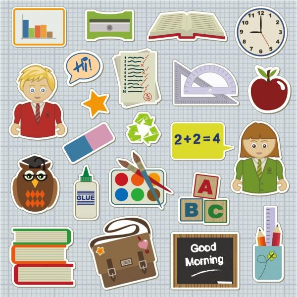生徒と文房具を切り抜いたクリップアート school students theme icon