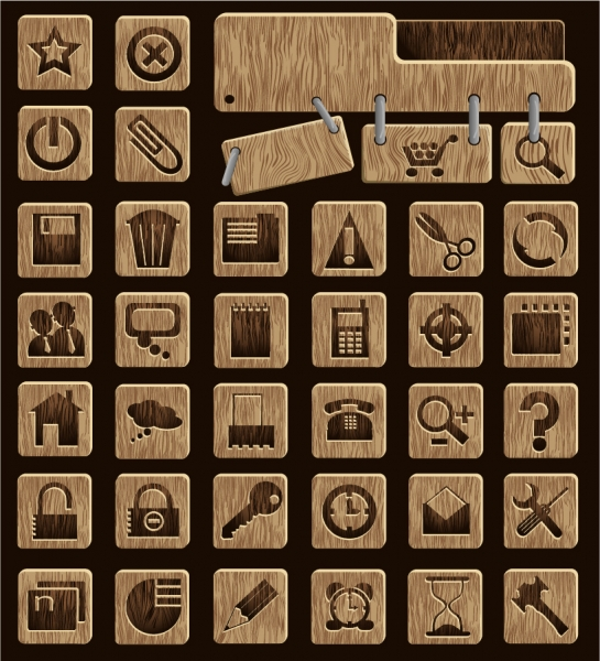 お洒落な木製アイコン wood icon vector