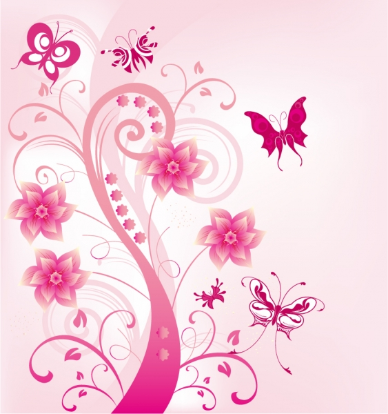 ピンク色の植物と蝶の背景 Pink Floral Swirl with Butterfies Vector Illustration