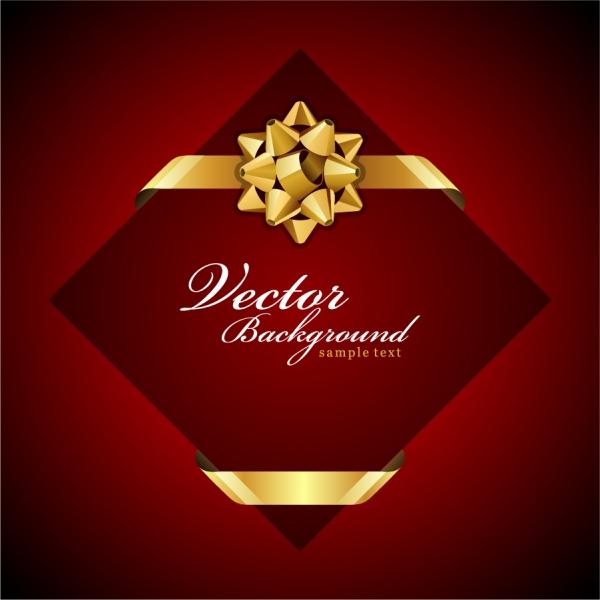リボン飾りのカード テンプレート beautiful holiday card5