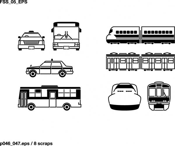 乗り物のシルエット Vehicles Silhouette Vector