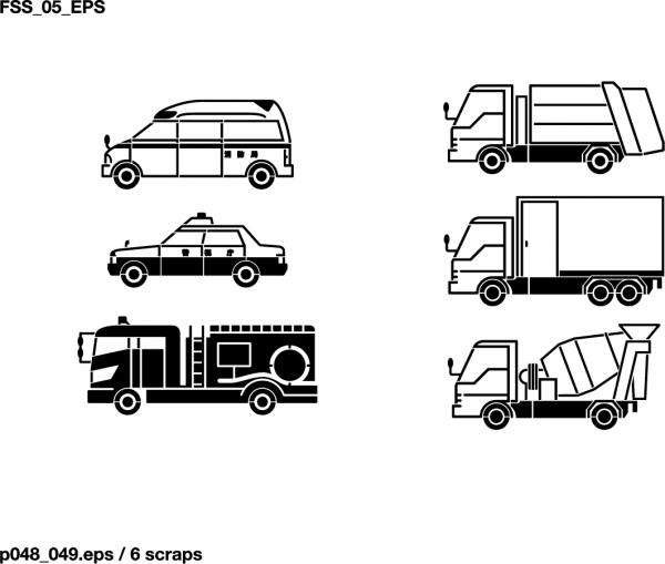 乗り物のシルエット Vehicles Silhouette Vector2