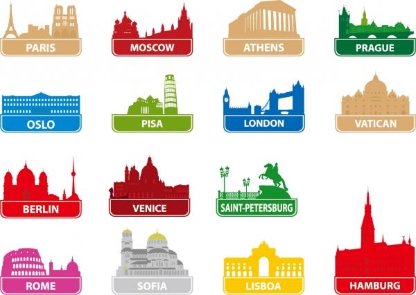 有名都市を代表する建造物のシルエット worldfamous city building silhouette