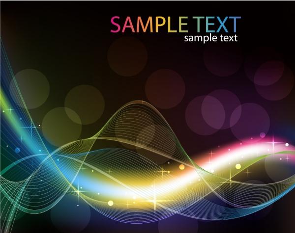 波打つ曲線が光る背景 Abstract Colored Wave Line Vector Background