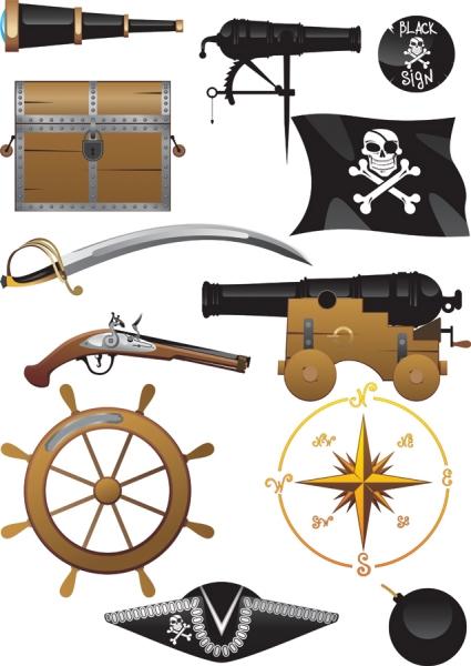 海賊に因んだクリップアート pirates clip art equipment