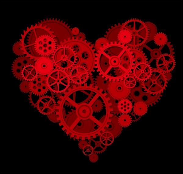 ハート型に組み立てた歯車 Heart by a gear composed