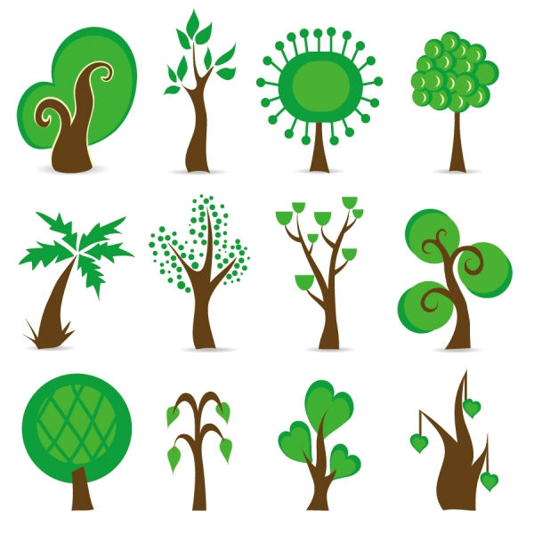 緑の樹のシンボル Tree Symbols Vector Graphic
