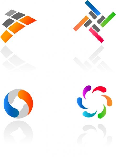 カラフルな影付きロゴ デザイン見本 Abstract Colorful Logotypes
