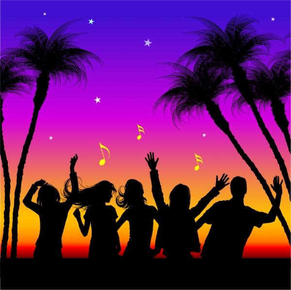 海辺でパーティを楽しむシルエット Party Silhouettes Vectors