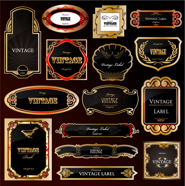 金縁の豪華なラベルデザイン european gorgeous label vector