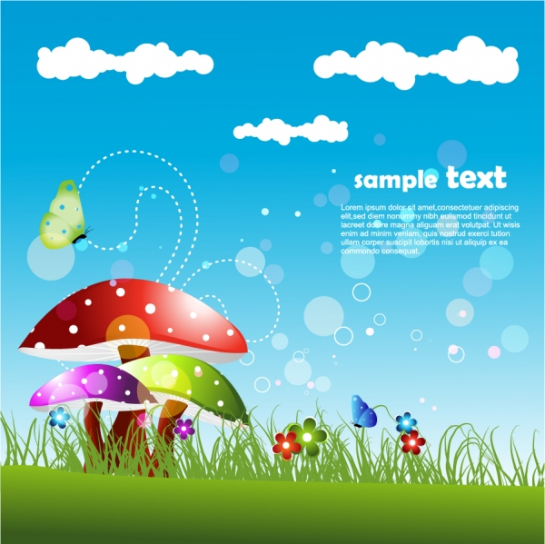 可愛いきのこの背景 cute cartoon mushrooms backgrounds1