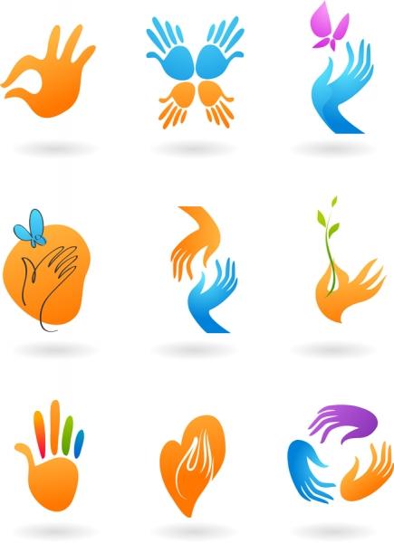 手の平を表現したクリップアート deformed hand icon vector