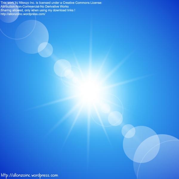 青空に輝く太陽光線の背景 Abstract Sunny Blue Sky Background