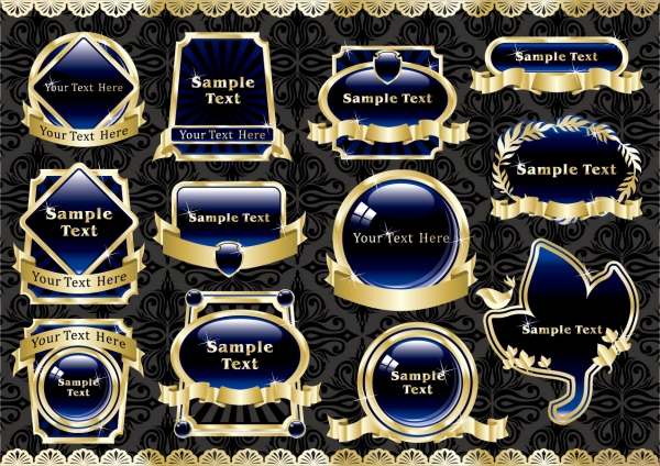 金色の縁取りが美しいラベルテンプレート european gorgeous gold label 2