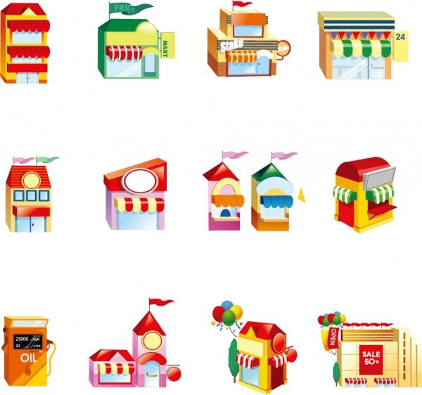 お店の建物アイコン Vector Shop Building Icon Set