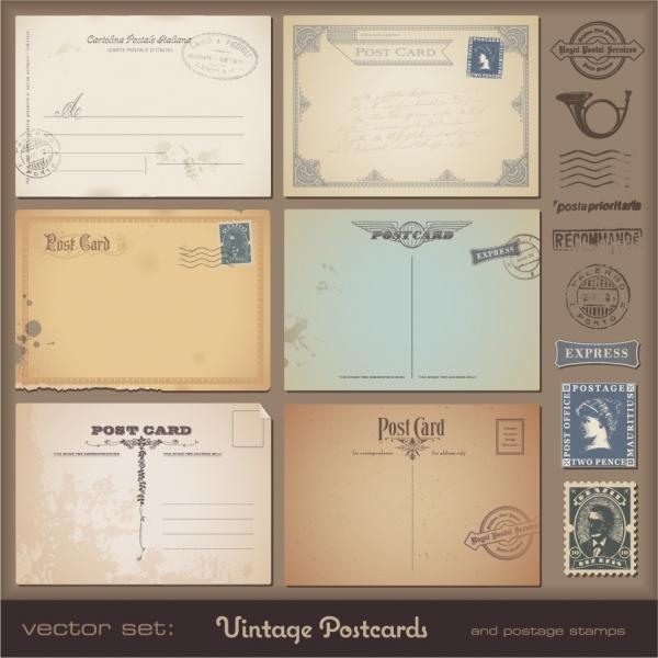 ヴィンテージ絵葉書のテンプレート vintage postcards and stamps5