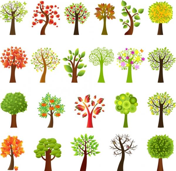 愛らしく描いた樹木のクリップアート plant a variety of lovely trees vector