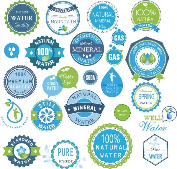 天然水のステッカー デザイン pure premium quality water symbol