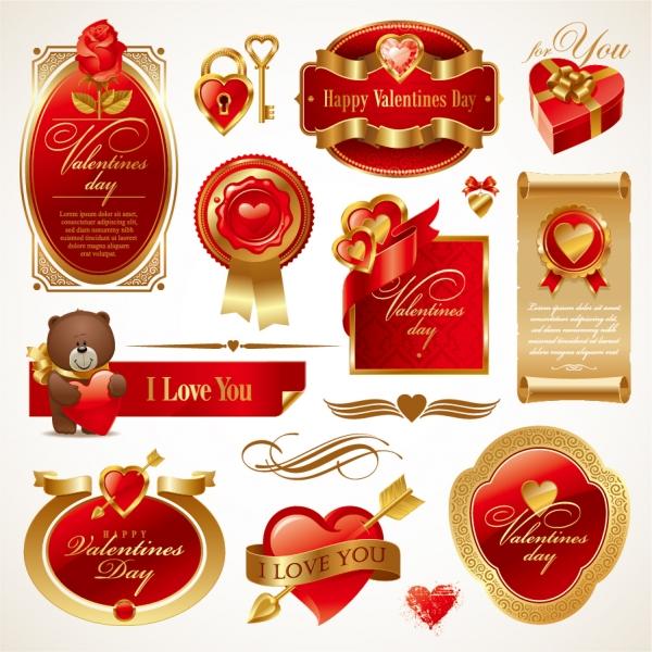 赤と金色が豪華な愛を表したラベル love the red elements vector