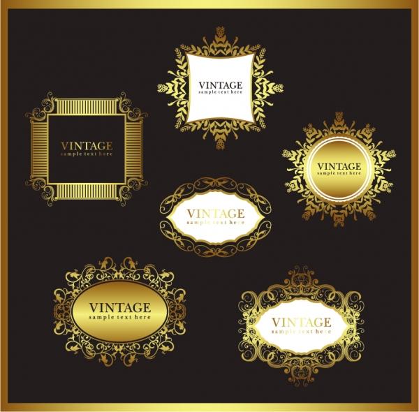 黄金の縁飾りがお洒落なフレーム europeanstyle gold frame pattern vector1