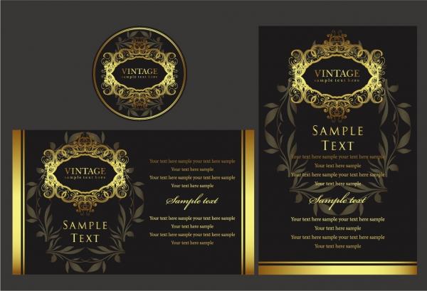 黄金の縁飾りがお洒落なフレーム europeanstyle gold frame pattern vector2