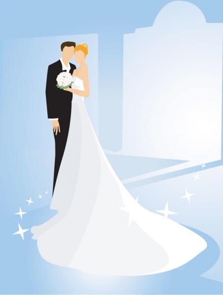 結婚式を題材にしたクリップアート wedding theme vector illustrator1