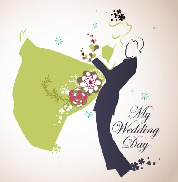 結婚式を題材にしたクリップアート wedding theme vector illustrator2