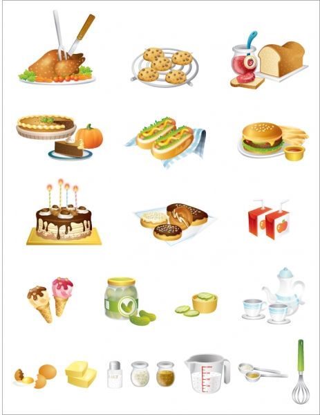 台所用品と食べ物アイコン Kitchen utensils, fine food icon vector material