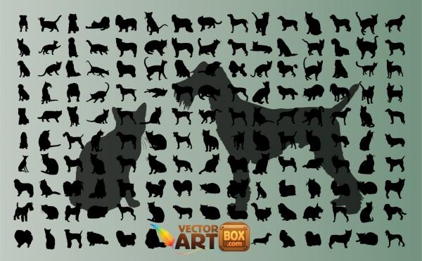 犬と猫のシルエット集 Dog and Cat Clip Art
