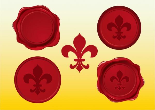 封蝋シーリングワックスのクリップアート red wax seal vectors