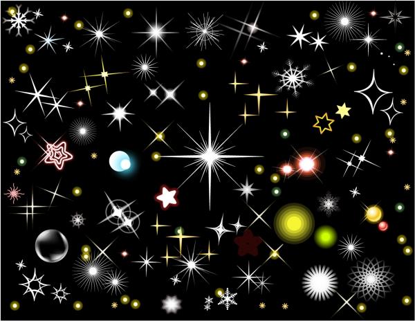 輝く星々のクリップアート Stars and Light Effects