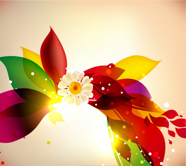 光溢れるカラフルな葉の背景 Abstract Colorful Floral Design Vector Background