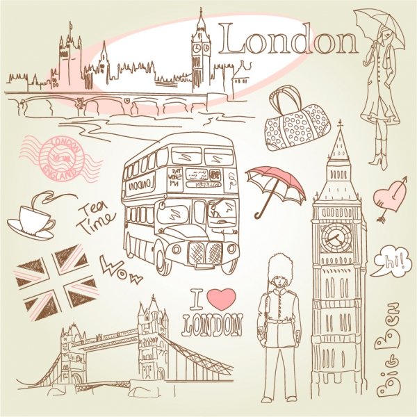 手書きのパリとロンドンの名所 line drawing of paris and london1