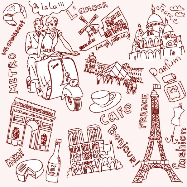 手書きのパリとロンドンの名所 line drawing of paris and london2