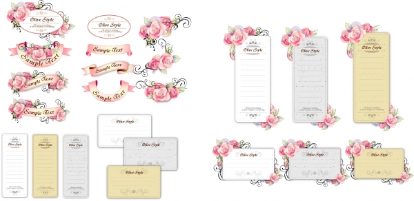 美しい花ビラのリボンで飾ったカード flower ribbon cards with handpainted flowers