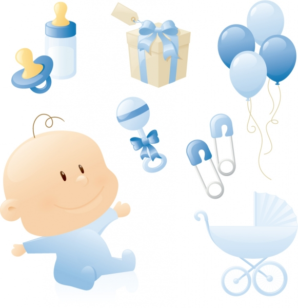 可愛い赤ちゃんグッズのクリップアート cute baby theme vector
