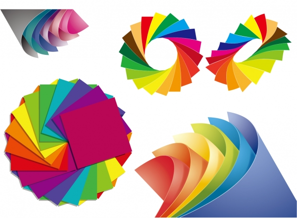 色違いの紙を重ねた背景 Paper of Different Colors Vector Graphic