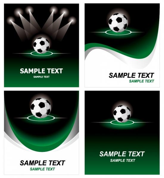 サッカーを題材にした背景とステーショナリーセット football theme vector
