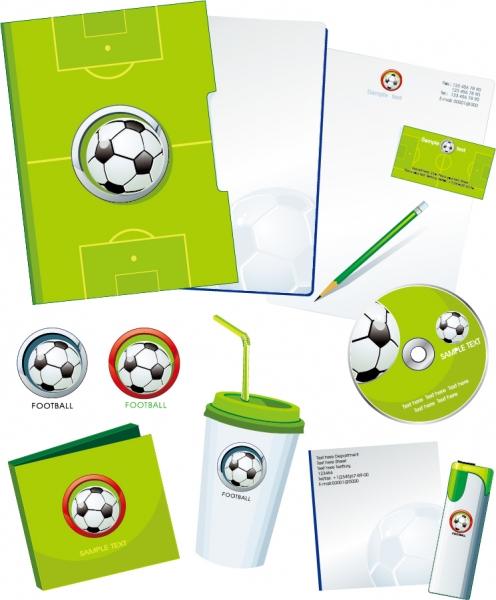 サッカーを題材にした背景とステーショナリーセット football theme vector2