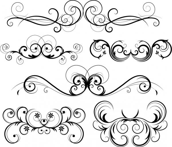 優雅な曲線の飾り罫 Ornate Vector Swirls