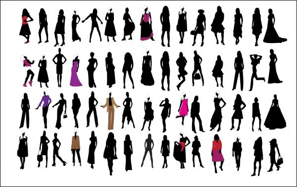 お洒落をした女性のシルエット Silhouette of Fashion Girls