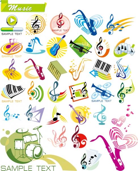 音楽をテーマにしたロゴデザイン見本 vector graphics theme music