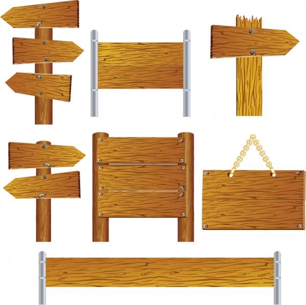 美しい木製看板のテンプレート beautifully realistic wood signs vector
