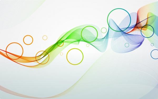 カラフルな曲線が美しく波打つ背景 Abstract Colorful Waves Background