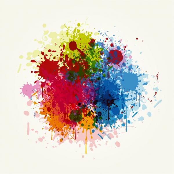 グランジスタイルのカラフルなインクの染み Grunge Colorful Splashing Vector Illustration