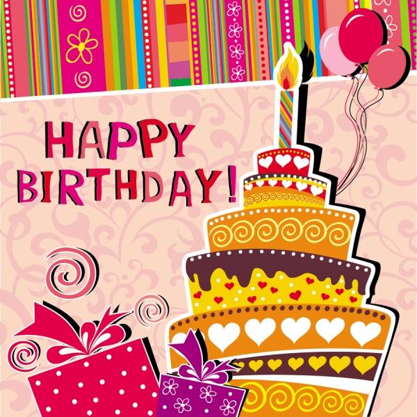 楽しい誕生日カード テンプレート cartoon birthday card