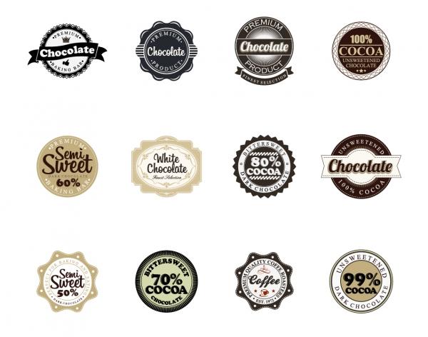 チョコレート包装のバッジ デザイン Chocolate Vector Badges